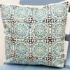 Moroccan Cushion Cover printed in Duck Egg and Midnight Blue
