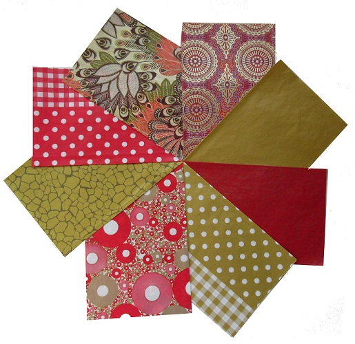 Decopatch paper pack- red & Gold