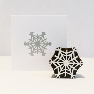 Indian Wooden Printing Block - Small Detailed Snowflake
