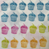 Hand Block Printed cupcake Fabric