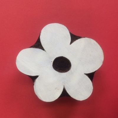 hand carved indian wooden printing block large funky flower