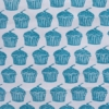 Indian Block Printed Tea Towel Cupcake Design Turquoise Blue