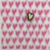 Indian Block Printed Fabric- Curved Heart with Dot Border