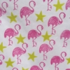 Indian Block Printed Tea Towel Flamingo and Star Print Yellow and Pink