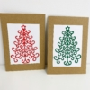 Block Printed Christmas Tree Cards