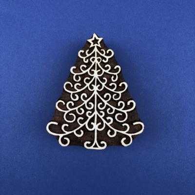 Indian Wooden Printing Block - Christmas Tree