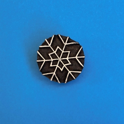 Indian Wooden Printing Block- Medium Simple Snowflake