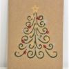 Block Printed Twirly Christmas Tree Card