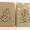 Block Printed Twirly Christmas Tree Cards