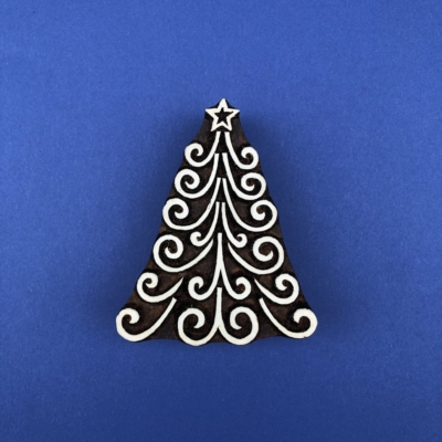 Indian Wooden Printing Block - Twirly Christmas Tree