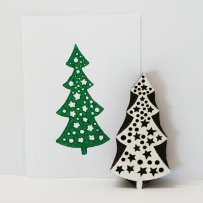 Indian Wooden Printing Block - Christmas Tree & Stars