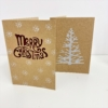 Curly Merry Christmas & Twiggy Tree Block Printed Cards