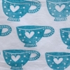 Indian Block Print Tea Cup Turquoise Blue