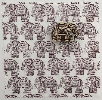 c52957ba55cf Indian Wooden Printing Block- Small Detailed Elephant - Arty Crafty
