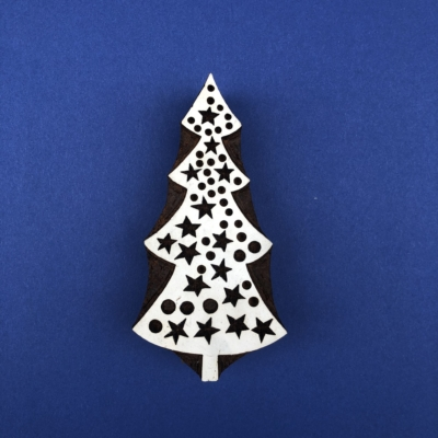 Indian Wooden Printing Block - Christmas Tree & Stars
