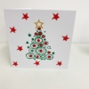 Hand Printed Contemporary Christmas Tree Card with Stars