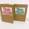 Curly Merry Christmas Block Printed Christmas Kraft Cards