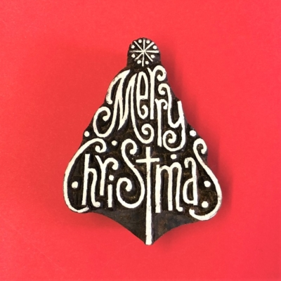 Indian Wooden Printing Block- Merry Christmas Tree