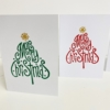 Block Printed Curly Merry Christmas Tree Cards