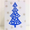 Block Printed Christmas Tree With Stars Card