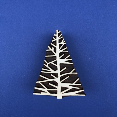 Indian Wooden Printing Block - Twiggy Christmas Tree