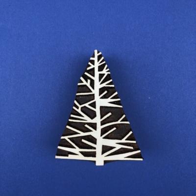 Indian Wooden Printing Block - Twiggy Christmas Tree