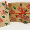 Curly Merry Christmas Block Printed Christmas Wrapping Paper & Bags with Holly