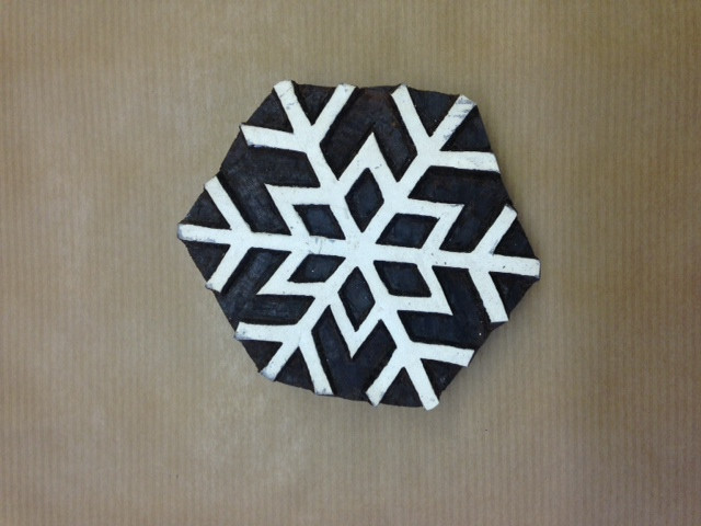 Hand Carved Indian Wooden Block Extra Large Simple Snowflake