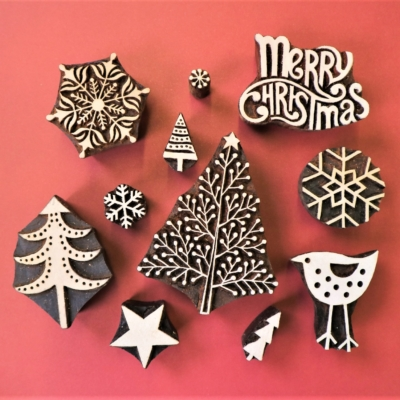 Detailed Dotty Christmas Tree Printing Set