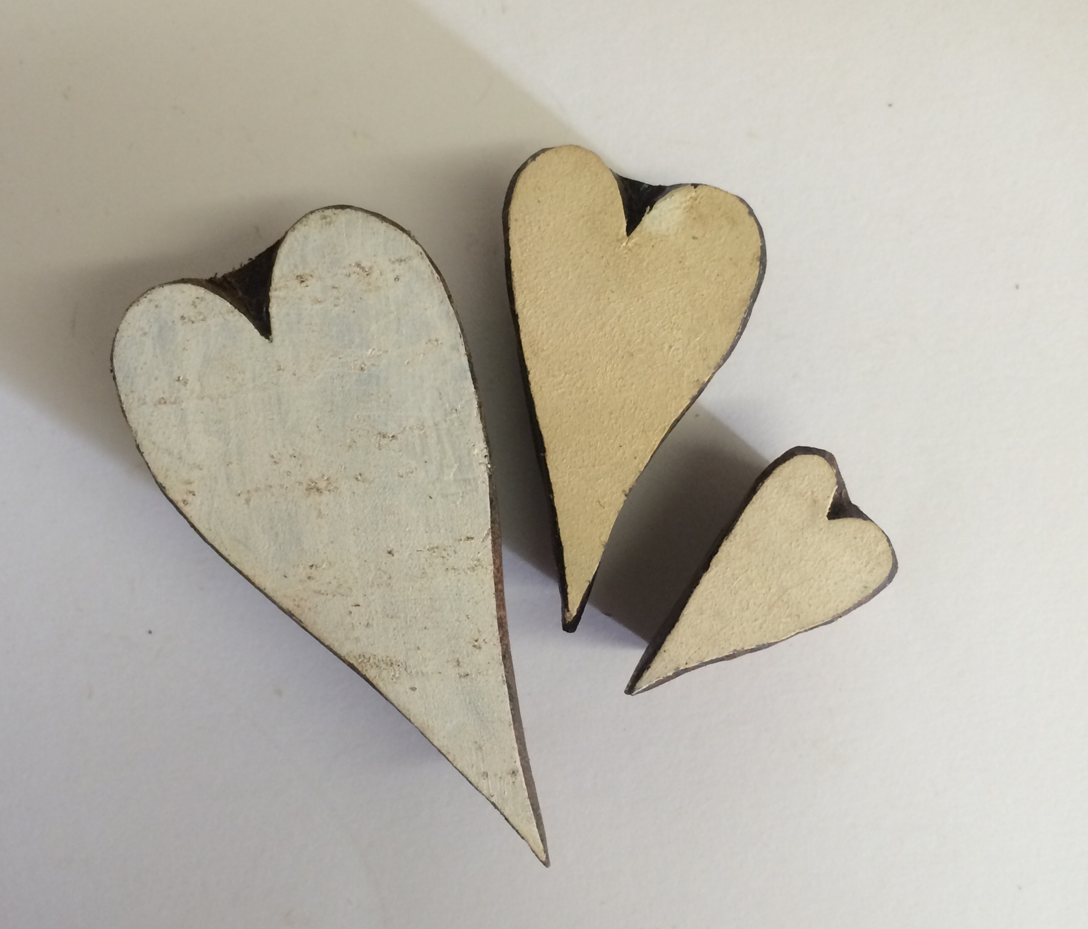 Hand Carved Indian Wooden Block Set Of 3 Hearts Arty