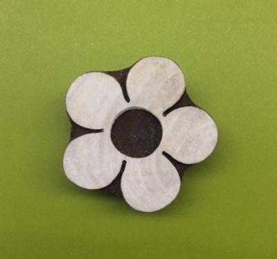 block craft- hand carved Indian wooden printing block medium flower