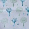 Indian Block Printed Tea Towel Tree Design Green and Blue