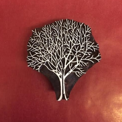 Naked winter tree hand carved Indian wooden printing block