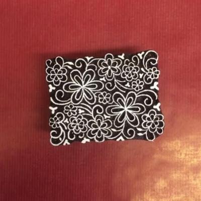 Hand carved Indian wooden printing block Flower tile