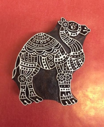 hand carved indian wooden printing bloc