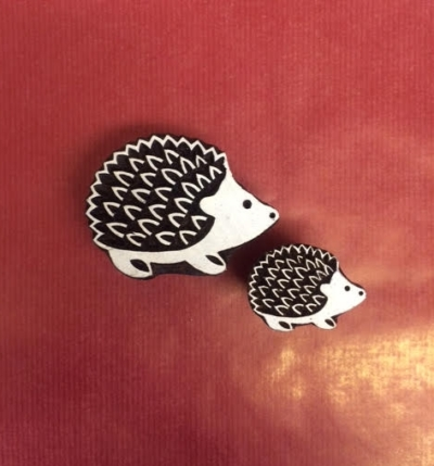 Hand carved Indian wooden printing blocks, set of 2 hedge hogs