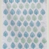 Indian Block Printed Tea Towel Leaf Paisley Print Design Green and Turquoise Blue