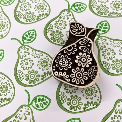 Indian Wooden Printing Block- Flowery Pear