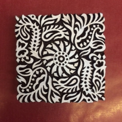 Hand carved Indian wooden printing block- Filigree Tile