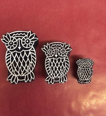 Hand carved Indian wooden printing blocks