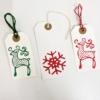 Reindeer & Snowflake Block Printed Tags