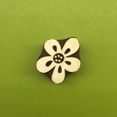 hand carved indian wooden printing block flower design