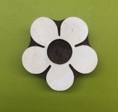 hand carved indian wooden printing block large simple flower design