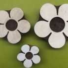 set of 3 simple flowers- hand carved indian wooden printing blocks