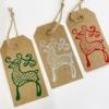 Block Printed Reindeer Christmas Tags