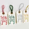 Block Printed Reindeer Christmas Name Tags