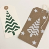 Block Printed Zig Zag Christmas Tree Tags