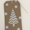 Block Printed Zig Zag Christmas Tree Tag