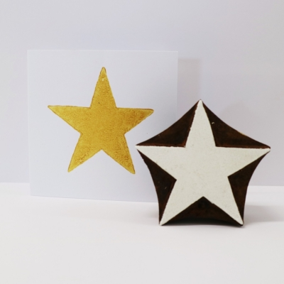 Indian Wooden Printing Block - Large Simple Star