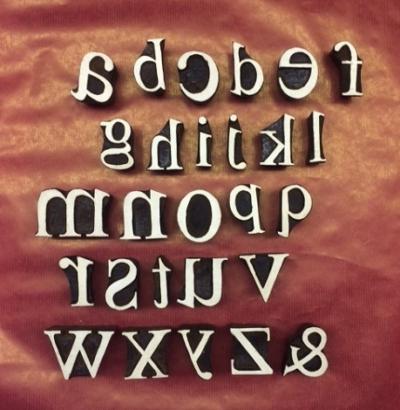 Hand carved Indian wooden printing block- Alphabet block printing set